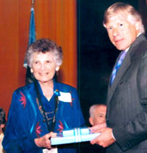 Helen Rehr with Lee Bollinger