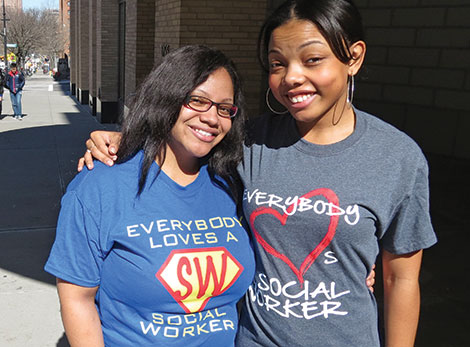 CUSSW students in Social Work tee shirts