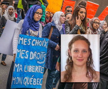 Protests in Montreal + head shot of Gabrielle Cole
