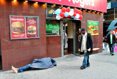 homeless man on 7th Avenue