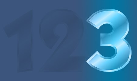 The number 3 highlighted in blue next to number 1 and number 2