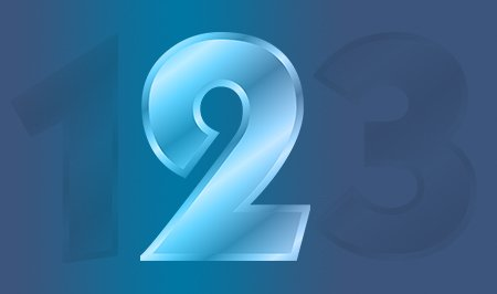 The number two highlighted in blue next to numbers one and three