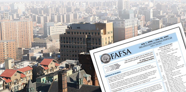 Fafsa form in front of city background