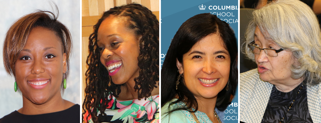 Affiliate graduation ceremony keynote speakers (left to right): Courtney Cogburn, Shijuade Kadree, Yesika Montoya, and Suki Terada Ports